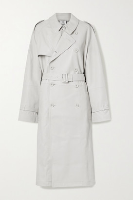 Vetements Oversized Leather Trench Coat - Light gray