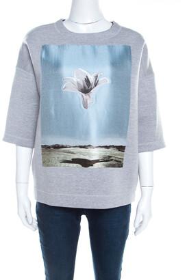 Christian Dior Grey Neoprene Floral Embroidered Short Sleeve Oversized Jumper S