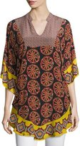 Tolani Belle Circles Split-Neck Printed Tunic, Black/Multi