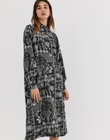 Weekday porcelain print midi dress in deep grey