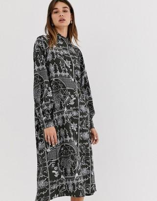 Weekday porcelain print midi dress in deep grey-Multi