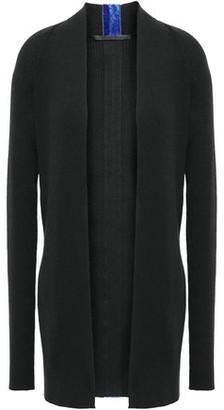 Haider Ackermann Velvet-trimmed Ribbed Cotton And Wool-blend Cardigan