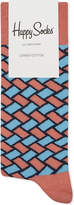 Happy Socks Mens Pink/Light Blue Modern Basket Weave Cotton-Blend Socks