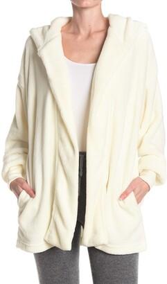 Hue Solid Plush Fleece Hooded Lounge Cardigan