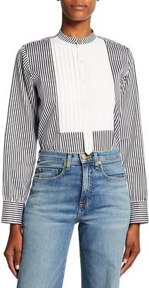 Victoria Beckham Tuxedo Bib Striped Button Down Shirt