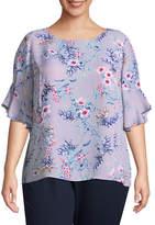 Liz Claiborne Ruffle Sleeve Blouse- Plus