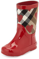 Burberry Ranmoor Heart-Print Rubber Rain Boot, Red, Youth