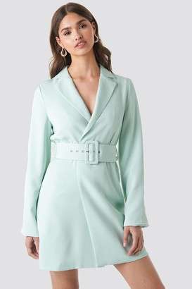 NA-KD Wide Sleeve Belted Blazer Dress Beige