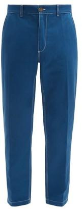 Umit Benan Topstitched Cotton-twill Slim-leg Chino Trousers - Blue