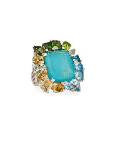 Stephen Dweck Gold Rutilated Quartz over Turquoise Doublet Ring, Size 7