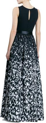 Aidan Mattox Sleeveless Printed Combo Gown