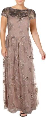 Alex Evenings Women's Long A-Line Rosette Dress - Discontinued