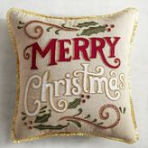 Pier 1 Imports Red & Gold Merry Christmas Pillow
