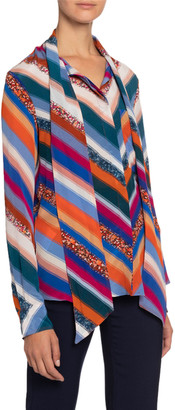 Altuzarra Newberry Chevron-Striped Chiffon Tie-Neck Blouse