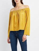 Charlotte Russe Faux Suede Off-The-Shoulder Top