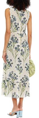 RED Valentino Pleated Floral-print Silk Midi Dress