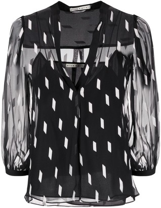 Alice + Olivia Sheila dash-print chiffon blouse