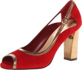 Cole Haan Corinne OT. Pump Womens US Size 8 Red Peep Toe Suede Pumps Heels Shoes