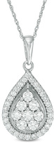 1 CT. T.W. Composite Diamond Teardrop Frame Pendant in 10K White Gold