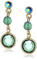 1928 Jewelry Gold-Tone Emerald Green Color AB Drop Earrings