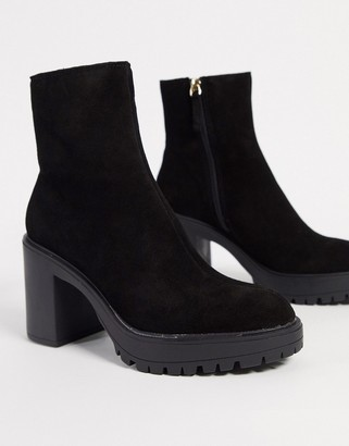 Kg Kurt Geiger KG by Kurt Geiger tommy chunky heeled ankle boots in black suede