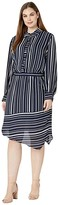 Vince Camuto Specialty Size Plus Size Long Sleeve Asymmetrical Hem Plain View Stripe Shirtdress (Caviar) Women's Clothing