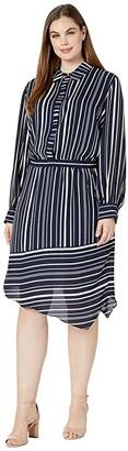 Vince Camuto Specialty Size Plus Size Long Sleeve Asymmetrical Hem Plain View Stripe Shirtdress (Caviar) Women's Clothing