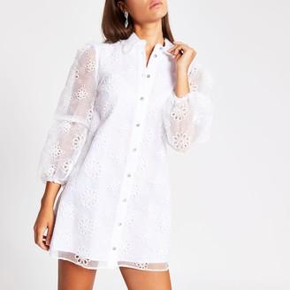 River Island Womens White long sleeve floral organza mini dress