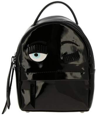 Chiara Ferragni Backpack Mini Flirting Backpack In Patent Leather With Embroidery