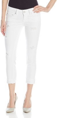 Dollhouse Women's White Crop with Destruction and Roll Cuff