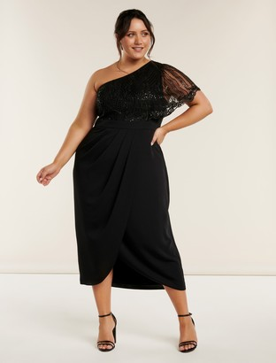 Forever New Ruby Curve One Shoulder Sequin Dress - Black - 22