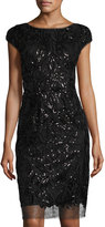 Vera Wang Cap-Sleeve Sequined Cocktail Dress, Black Metallic