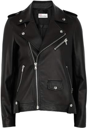 RED Valentino Black Pleated Leather Jacket