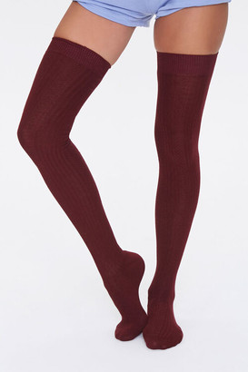 Forever 21 Shadow-Striped Thigh-High Socks