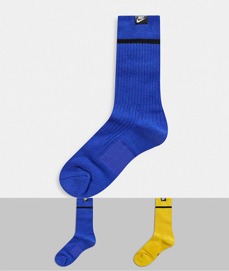 Nike Essential 2 pack socks in yellow/blue
