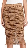 Polo Ralph Lauren Fringe Crocheted Suede Skirt
