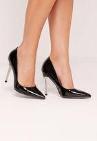 Missguided Perspex Heel Patent Court Shoes Black