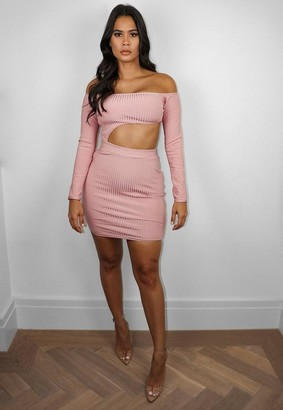 Missguided Premium Blush Bandage Bardot Cut Out Mini Dress