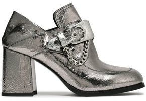 McQ Leah Buckled Metallic Cracked-leather Pumps