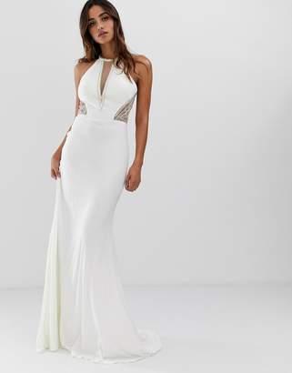 Jovani high neck maxi dress with side embellishment