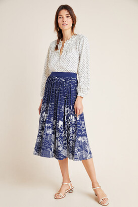 Anthropologie Haven Pleated Knit Midi Skirt By in Blue Size XS