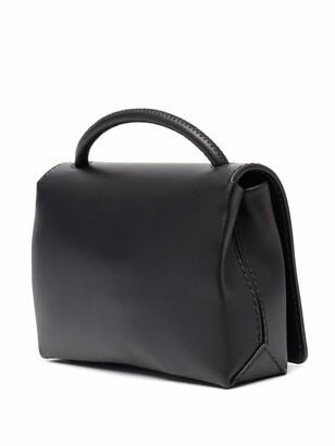 Moschino Logo-Print Leather Satchel Bag
