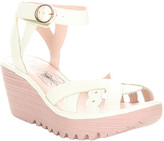 Fly London Women's Sandals 007 - Off-White Mousse Ankle-Strap Wedge Yrat Leather Sandal - Women