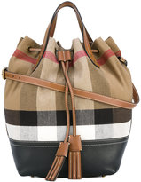 Burberry house check bucket tote - women - Cotton/Jute/Calf Leather/Leather - One Size
