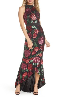 Chi Chi London Santana Sequin Floral High/Low Evening Gown