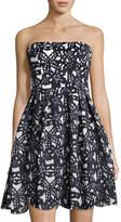 Maggy London Bonded Mesh Strapless Dress, Blue/White