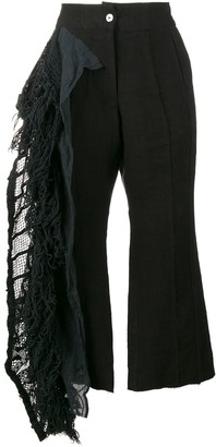 By Walid Lace Frill Cropped Trousers