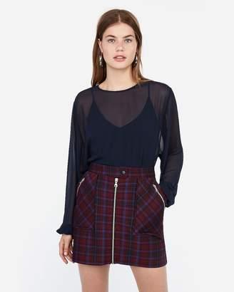 Express High Waisted Plaid Knit Zip A-Line Mini Skirt
