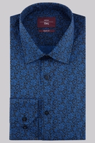 Moss Esq. Regular Fit Navy Single Cuff Floral Print Shirt