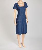 Le Mieux Blue Denim Square-Neck Dress